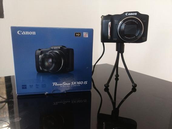 Câmera Digital Canon Powershot Sx160 Is Preta 16.0mp Complet