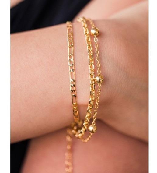 Pulseira Feminina Tripla Banho Ouro 18k Dourada