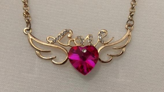 Collar De Corazon De Cristal Con Alas Love +envio Gratis