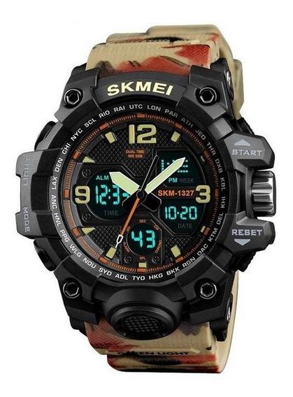 Relógio Masculino Militar Pulseira Camuflada Original Anadig