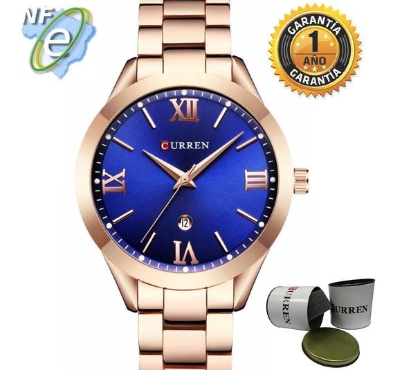 Relógio Feminino Curren Rosê Com Azul Original Analogico Nf