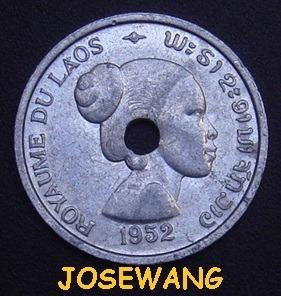 10 Cents. Moneda Antigua Laos Del Anio 1952 Unico