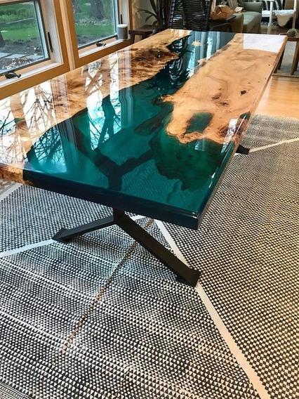 Resina Epoxi Cristal Média: Mesa Madeira River Table 4,35 Kg