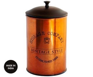 Frasco Lata Vintage Cobre Yerba Azucar Cafe 19 Cm Altura
