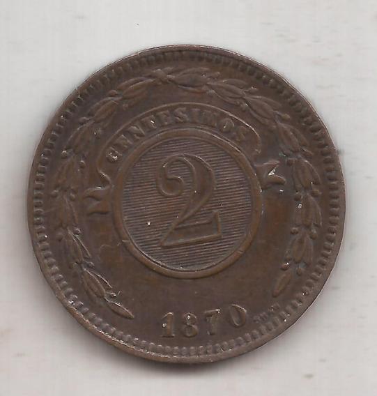 Paraguay Moneda De 2 Centesimos Año 1870 Excelente