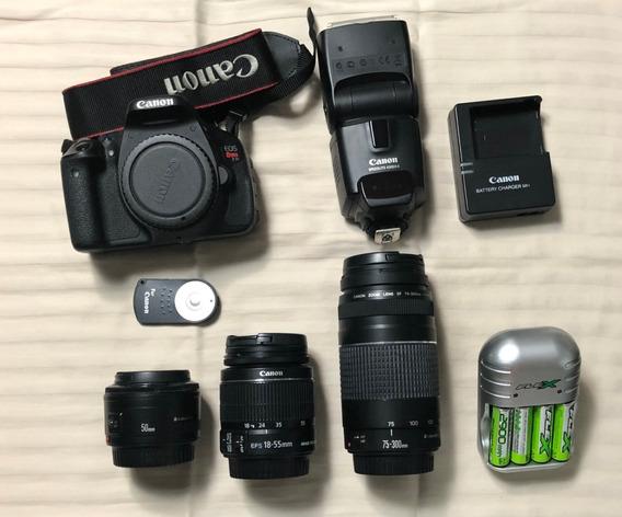 Câmera Canon T3i Seminova + 3 Lentes + Flash + Bolsa + Tripe