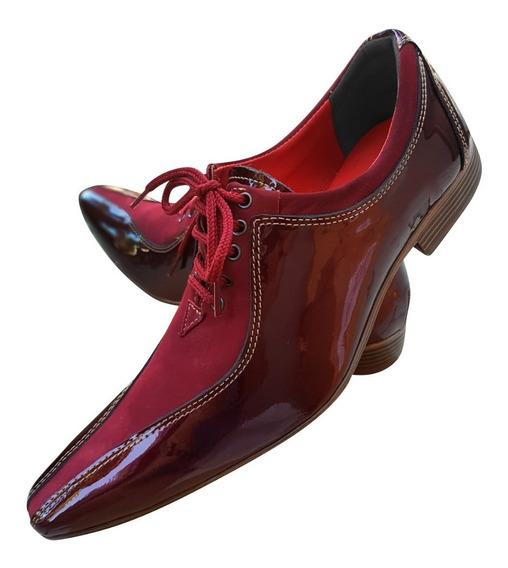 Sapato Masculino Em Couro Vermelho Italiano Ref: 510