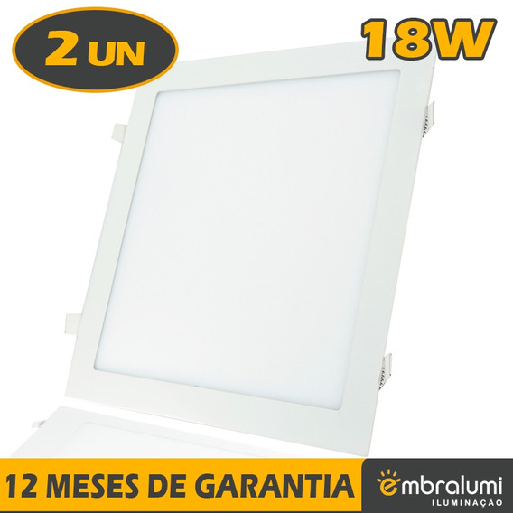 2x Painel Plafon Embutir Led Downlight 18w Embralumi