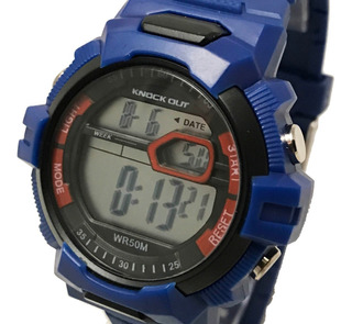 Reloj Knock Out Digital Luz Fecha Sumergible Alarma 8146
