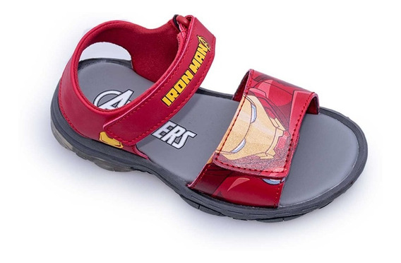 Sandalias Agua Marvel Ironman Con Luces Fty Calzados