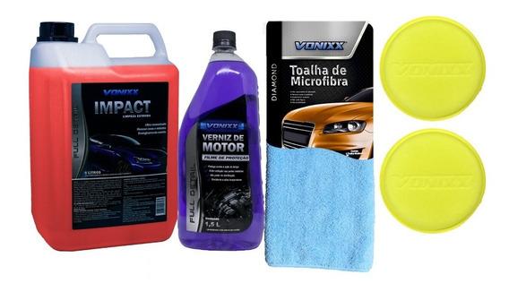 Kit Limpeza De Motor Impact Verniz Toalha Aplicador Vonixx