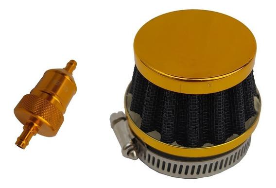 Kit Filtro Ar + Combustível Gasolina Moto Dourado Universal