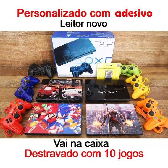 Console Playstation 2 + 02 Controles + 10 Jogos +memory Card