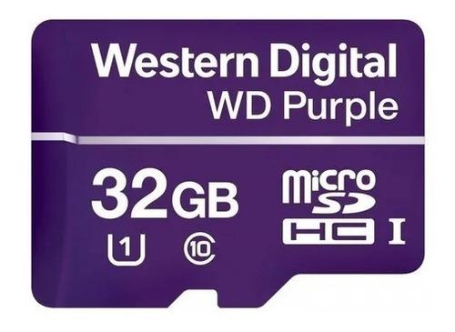 Imagen 1 de 3 de Memoria Micro Sd Sdxc 32gb Wd Purple Surveillance Clase 10