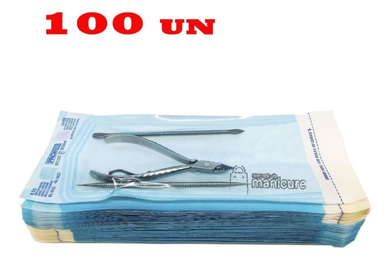100 Envelopes Para Esterilização Alicate Cutícula 9cm X 23cm