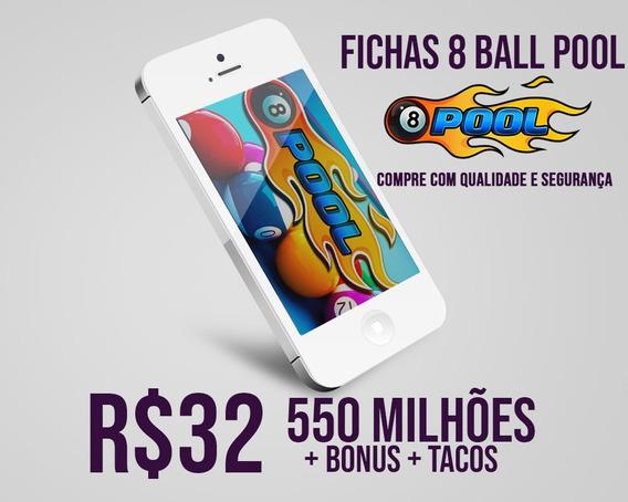 Fichas 8 Ball Pool Entrega Rápida 550 Milhões + Mega Brinde