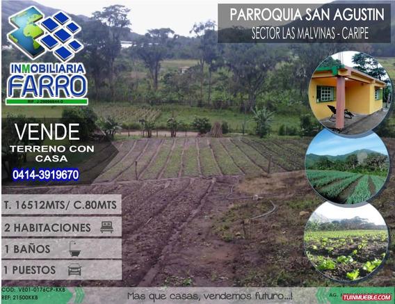 Venta De Terreno Con Casa En Caripe Ve01-0176cp-kkb