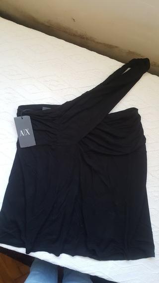 Remera Armani Exchange De Un Hombro Negra T L C Etiqueta