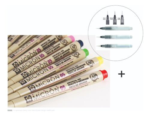 Imagem 1 de 10 de Kit 6 Caneta Nanquim Colorido 0.5 + 3 Water Brush