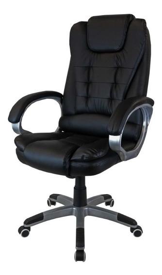 Cadeira Presidente Profissional Preta Couro Sintético