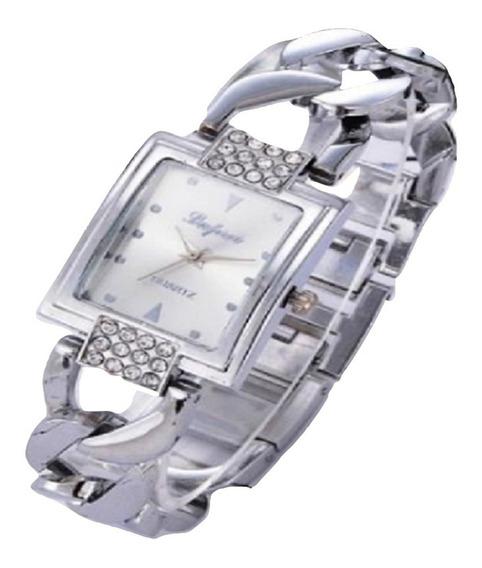 Relógio Mostrador Quadrado Pulseira Corrente Grossa Barato
