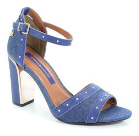 Sandália Salto Alto Cravo E Canela Jeans Azul - 147101-1