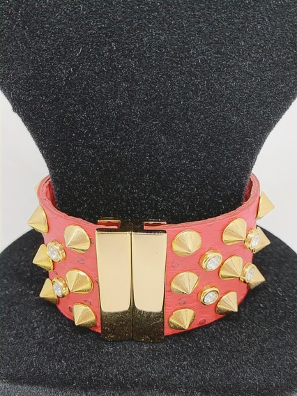 Empório Bijux Bracelete Em Couro Vermelho/dourado Semi-joias