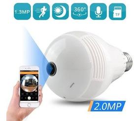 Câmera Ip Panorâmica Segurança Lampada Vr 360 Espia Wifi