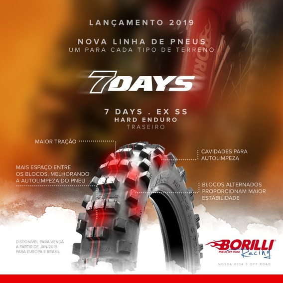 Pneu Borilli 7 Days Exc Soft 140/80-18 Trazeiro Lançamento