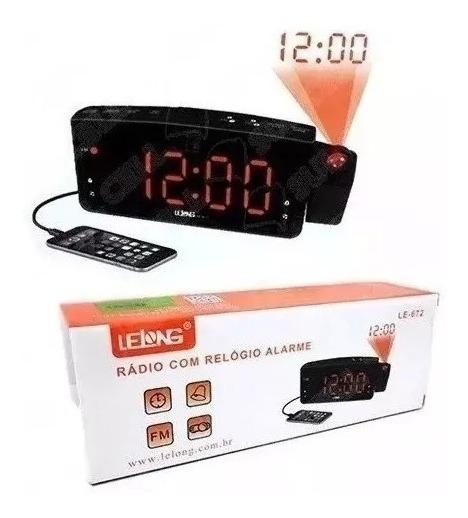 Rádio Relógio Projetor De Horas Despertador Lelong Fm Usb