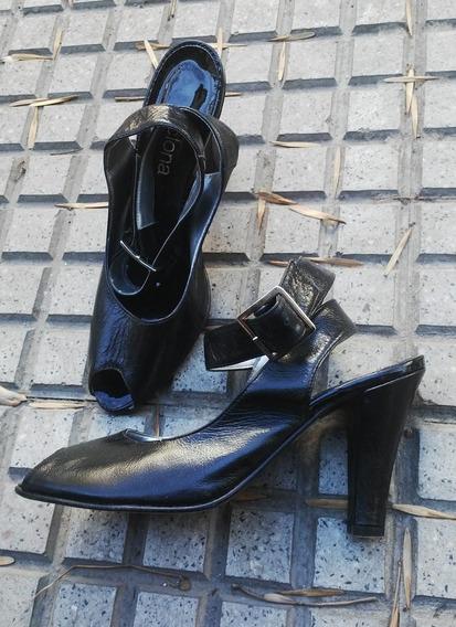Zapatos Negros Finos Cuero Clona Mujer 38 Taco Sandalias