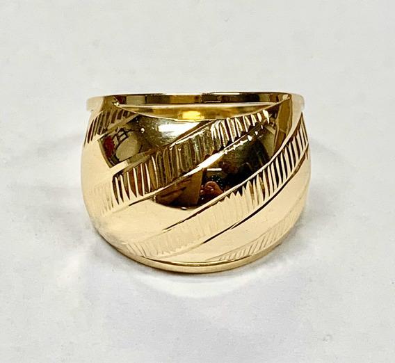 Anel Chapa Baulado Grande Feminino Diamantado Ouro 18k 750