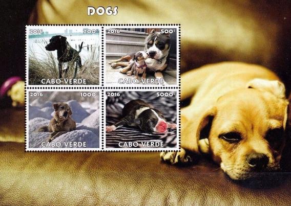 Cachorros / Cães Bloco Novo 2016 Ilha Cabo Verde Belo Bloco