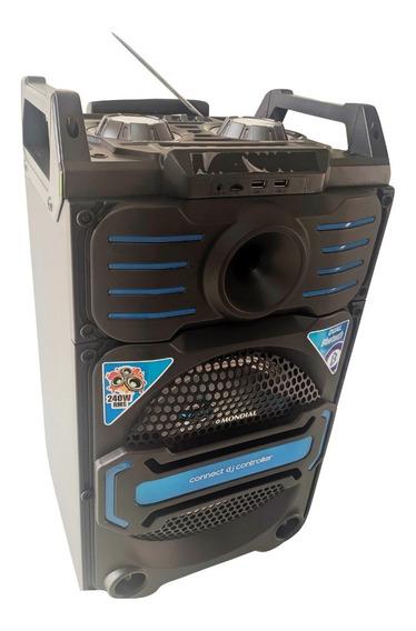Caixa De Som Bluetooth Retro Usb Cartão Sd Fm Subwoofer 240w
