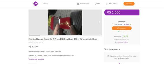 Cordão Baiano Corrente 2,2mm X 60cm Ouro 18k + Pingente