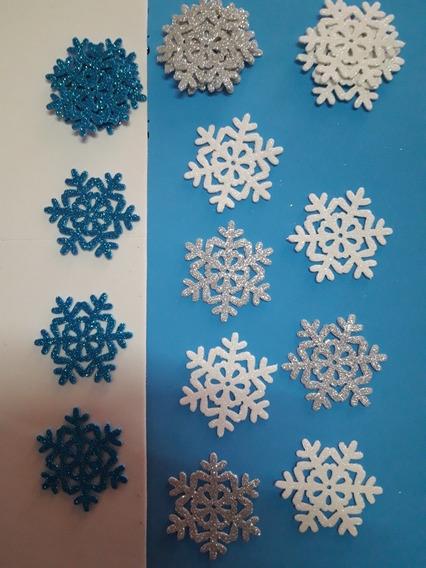 Copos De Nieve Goma Eva Con Glitter 5cm