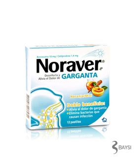 Noraver Garganta Naranja Miel .-caja X 12 Tabletas