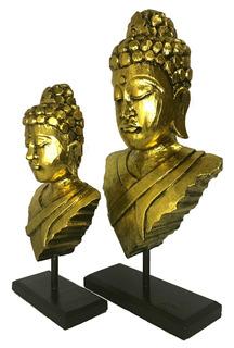 Estátua Máscara Buda Decorativo Em Madeira Bali - 2 Peças