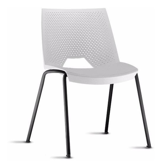 Cadeira Strike Polipropileno Branco Base Fixa 4 Pés Tsmob