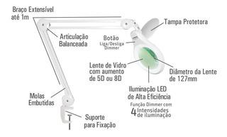 Lupa De Bancada Hl-410led 4 Intensidades Bivolt 8d Solver