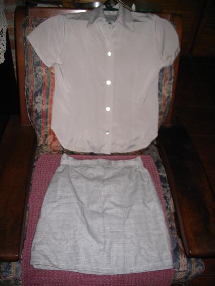 Conjunto De Blusa Camisa Y Minifalda Pollera Cuadrille Gris