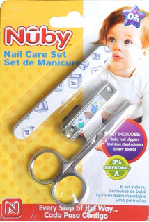 Set De Manicure Para Bebe Nuby Cortauñas Tijera Y Limas Soft
