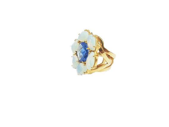 Anel Feminino Cristal Azul Banho Á Ouro