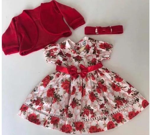 Vestido Bebe Menina Infantil Com Bolero E Tiara 100% Algodão