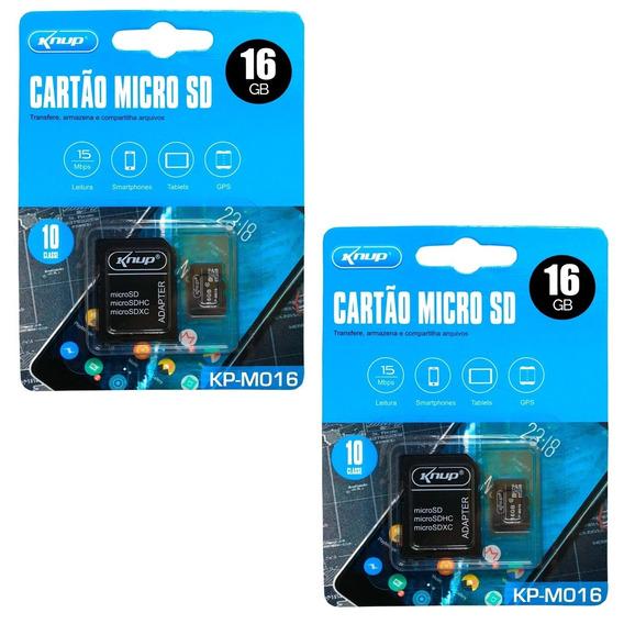 Kit 2 Cartão Memória Micro Sd 16gb Câmera Tablet Lacrado M16