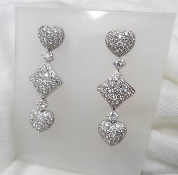 Magníficos Brincos 2,0 Cts De Diamantes Ouro Branco