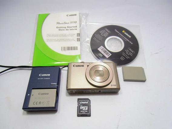 Kit Câmera Digital Canon S110 Rosè Completa C/ Duas Baterias