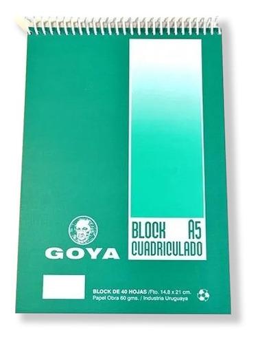 Block Cuadriculado Con Espiral Goya A5