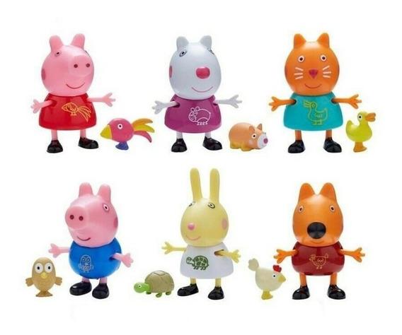 Peppa Pig Figura Originales Con Mascota Para Coleccionar