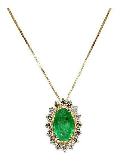 Gargantilha Ouro 18k Diamantes E Esmeralda - Código 8538